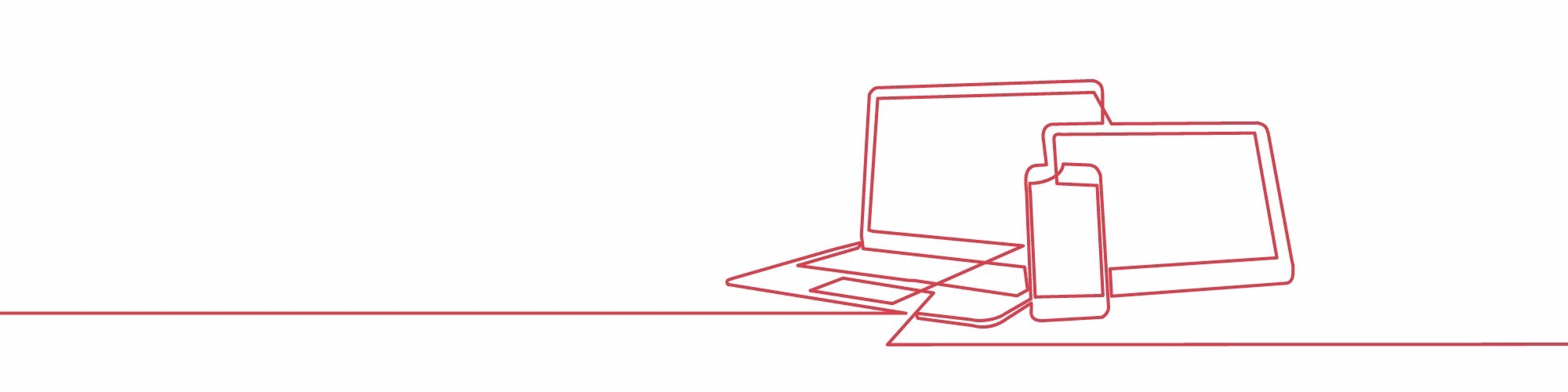 Continuous line art, laptop, phone and iPad